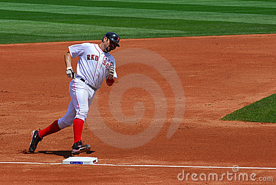 Red Sox, Varitek runs bases after home run Editorial Photography