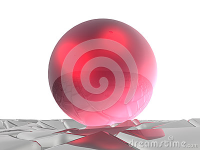 Red sphere on grey cubes