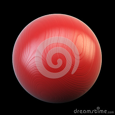 Red sphere made out of wood