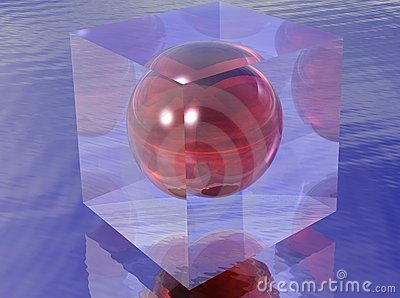 Red sphere in a transparent cube