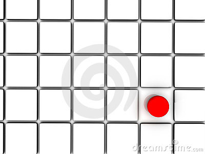 Red sphere among white squares