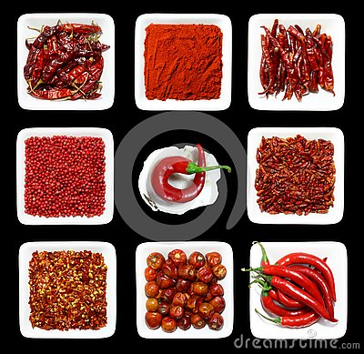 Free RED Spices WHITE Plates Stock Images - 3460704