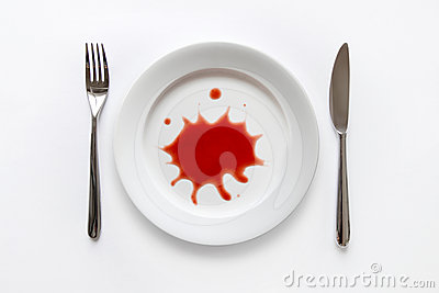 Red splatter on dish