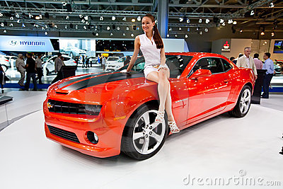 Red sport car Chevrolet Camaro Editorial Stock Photo