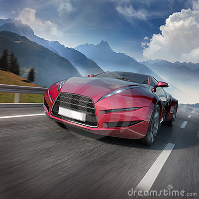 Free Red Sports Car Moving On The Mountain Road Royalty Free Stock Image - 16677946