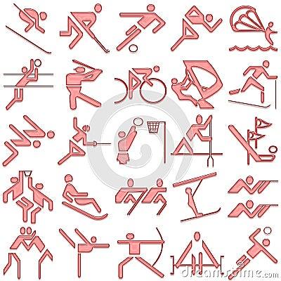 Red sports symbols icon set