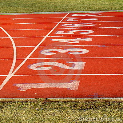 Free Red Sports Track With 8 Lanes Royalty Free Stock Photography - 4272007