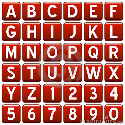 Red Square Alphabet Buttons