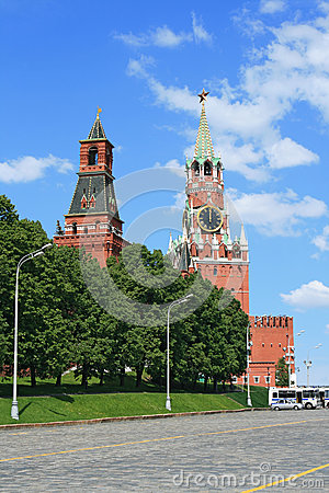 Red Square and clock tower at noon