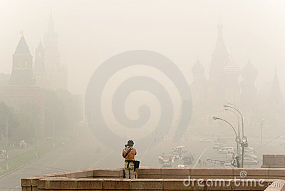 Red Square in Moscow under smog Editorial Photo