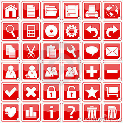 Red Square Stickers Icons [1]