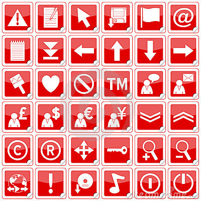 Red Square Stickers Icons [2]