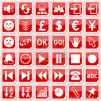 Red Square Stickers Icons [3]