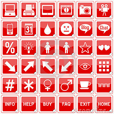 Red Square Stickers Icons [4]