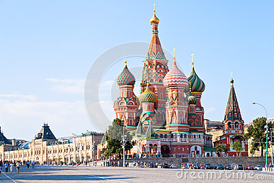 Red Square with Vasilevsky descent in Moscow Editorial Image