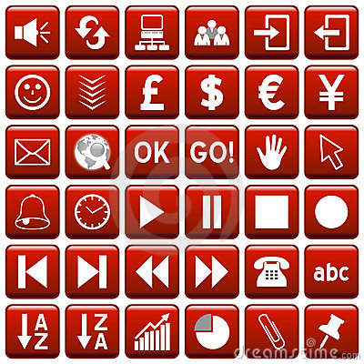 Red Square Web Buttons [3]