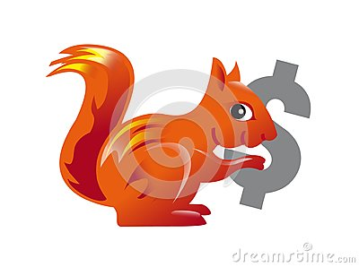 Red squirrel carrying a dollar symbol