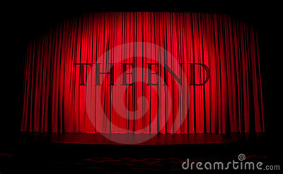 Red stage curtain with spotlight and