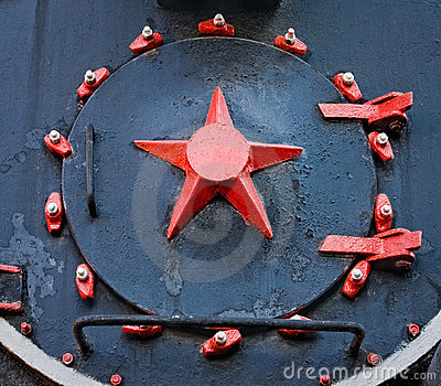 Red star on the old steam train