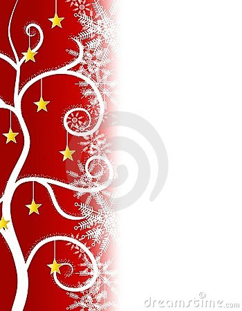 Free Red Stars Christmas Tree Border Royalty Free Stock Images - 3636639