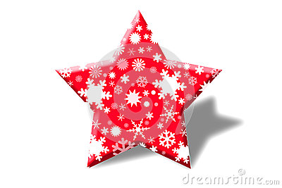 Red stars with snow inside.