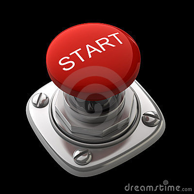 Red START button Isolated