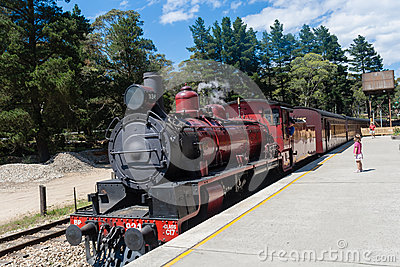 Red Steam Train Coaches Editorial Stock Photo