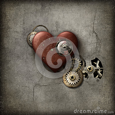 Red Steampunk Heart Stock Photo