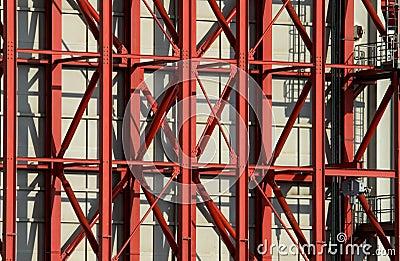 Red steel beams