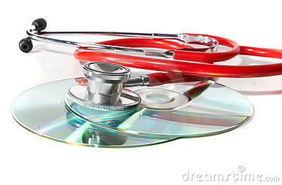 Red stethoscope with cds