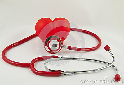 Red stethoscope and red heart