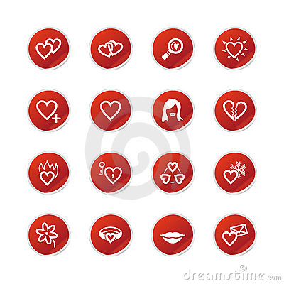 Red sticker love icons