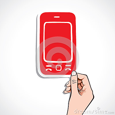 Red sticker of mobile in hand