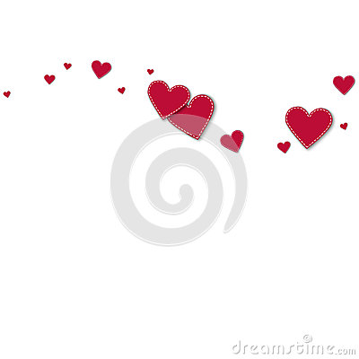 Free Red Stitched Paper Hearts. Stock Images - 93305854