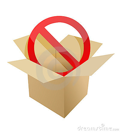 Red stop symbol in carton box illustration