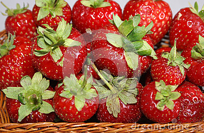 Red straberries in a basket