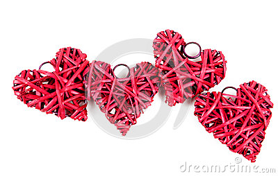 Red straw hearts