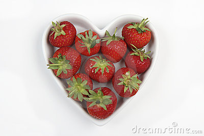 Red Strawberries in a love heart shaped dish