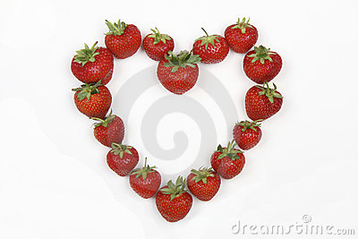 Red Strawberries in the shape of a love heart