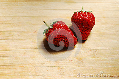 Strawberry on a chopping board