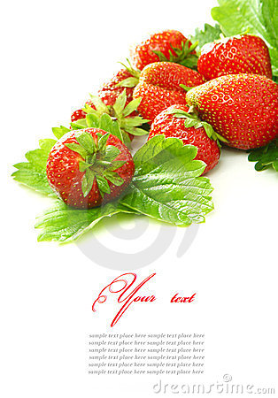Free Red Strawberry Fruits With Green Leafs Isolated On Stock Photo - 24152820