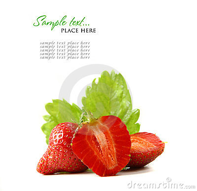 Free Red Strawberry Fruits With Green Leafs Isolated On Royalty Free Stock Photos - 24152868