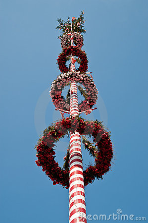 Red striped maypole
