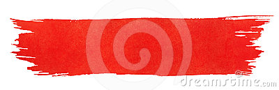 Red stroke of paint brush Stock Photo