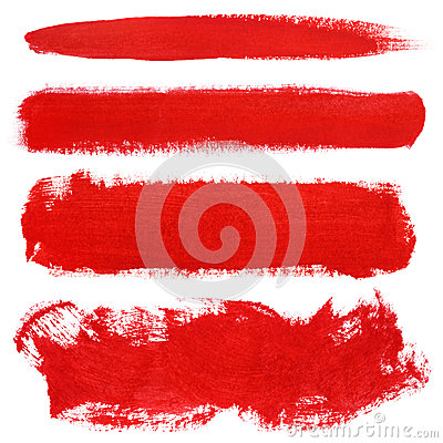 Free Red Strokes Of Gouache Paint Brush Royalty Free Stock Image - 52209756