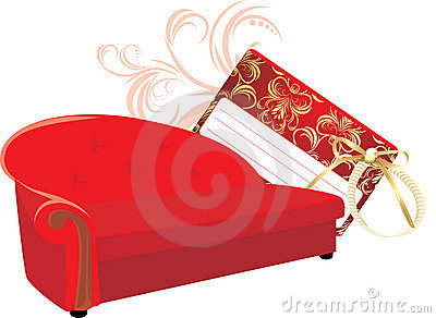 Red stylish sofa with gift card