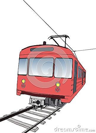 Red subway or metro train