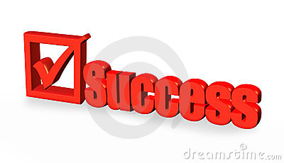 Red success word and tick sign