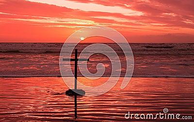 Red Sundown Cross