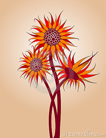 Free Red Sunflowers Royalty Free Stock Photo - 5282255